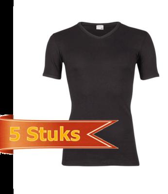 Heren beeren T-shirt korte mouw V-hals zwart (5 stuks)