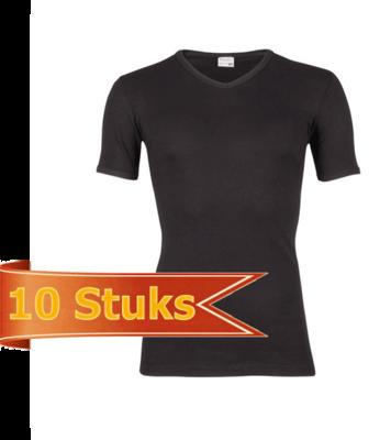 Heren beeren T-shirt korte mouw V-hals zwart (10 stuks)