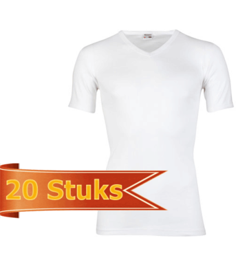 Heren beeren T-shirt korte mouw V-hals wit ( 20 stuks )