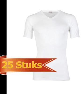 Heren beeren T-shirt korte mouw V-hals wit ( 25 stuks )