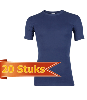 Heren beeren T-shirt korte mouw marine ( 20 stuks )