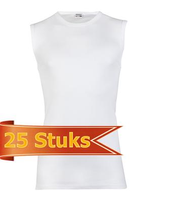 Heren beeren  mouwloos shirt  wit ( 25 stuks )