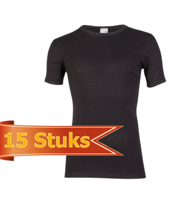 Heren beeren T-shirt korte mouw zwart ( 15 stuks )