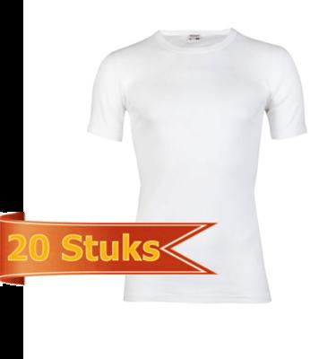 Heren beeren T-shirt korte mouw wit ( 20 stuks )