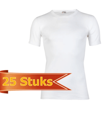 Heren beeren T-shirt korte mouw wit ( 25 stuks )