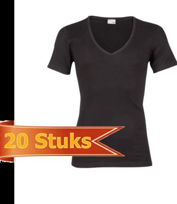 Heren beeren ondergoed T-shirt korte mouw diepe V-hals zwart (20 stuks )