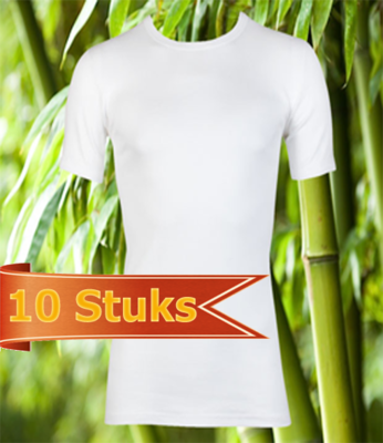 10 stuks Bamboe T-shirt wit