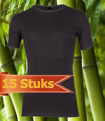 15 stuks Bamboe T-shirt zwart