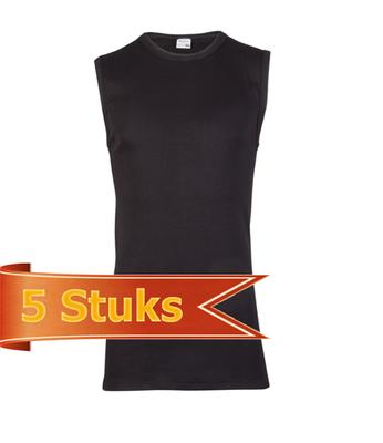 Heren Beeren mouwloos shirt zwart (5 stuks)