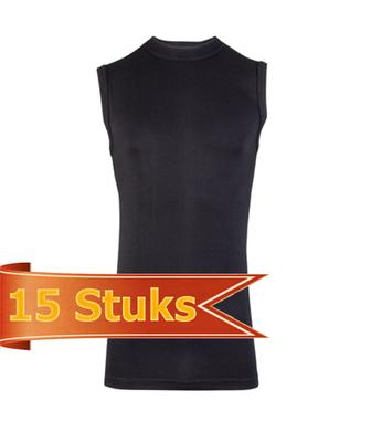 Heren Beeren mouwloze shirt Comfort Feeling zwart (15 stuks)