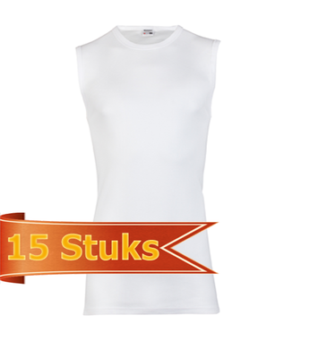 Heren Beeren  mouwloos shirt  wit (15 stuks)