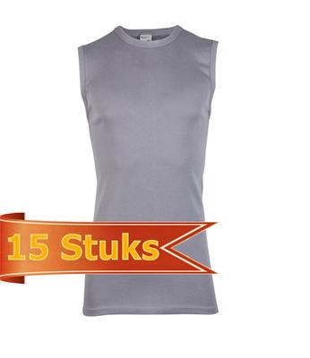 Heren Beeren mouwloos shirt grijs (15 stuks)