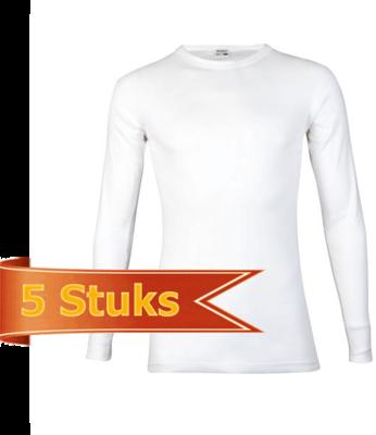 Heren Beeren T-shirt lange mouw wit (5 stuks)