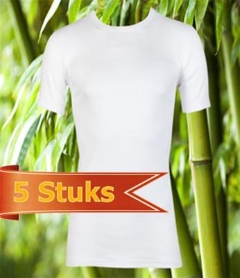 Bamboe t-shirt korte mouw wit (5 stuks)