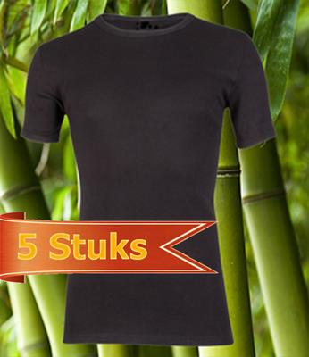 Bamboe t-shirt korte mouw zwart (5 stuks)