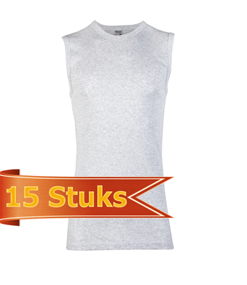 Heren Beeren mouwloos shirt grijs melee (15 stuks)