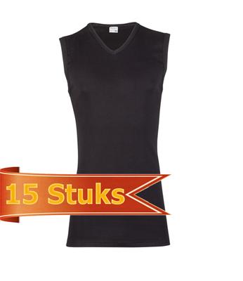 Heren Beeren mouwloos shirt V-hals zwart (15 stuks)