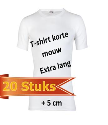 Heren beeren T-shirt korte mouw wit extra lang ( 20 stuks )