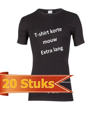 Heren beeren T-shirt korte mouw zwart extra lang (20 stuks)