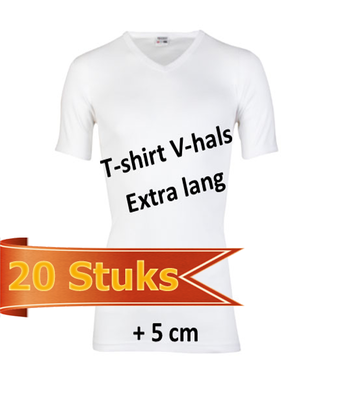 Heren T-shirt V-hals extra lang wit (20 stuks)