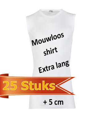 Heren Beeren mouwloos shirt extra lang wit (25 stuks)