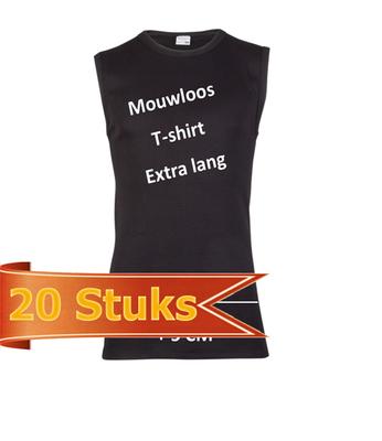 Heren Beeren mouwloos shirt extra lang zwart (20 stuks)
