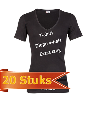 Heren beeren ondergoed T-shirt korte mouw diepe V-hals zwart (20 stuks)