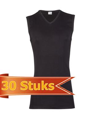 Heren Beeren mouwloos shirt V-hals zwart (30 stuks)
