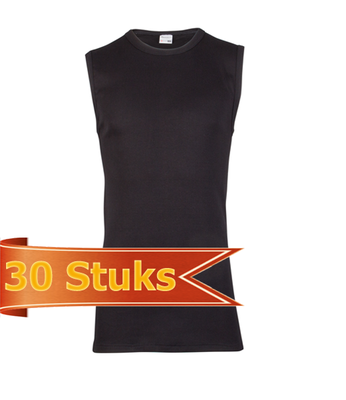 Heren Beeren mouwloos shirt zwart (30 stuks)