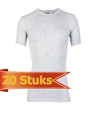 Heren beeren T-shirt korte mouw grijs melee (20 stuks)