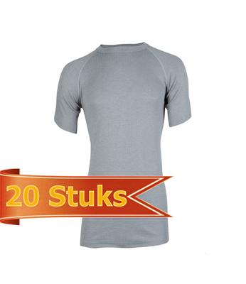 Unisex beeren ondergoed hemd korte mouw thermo grijs (20 stuks)
