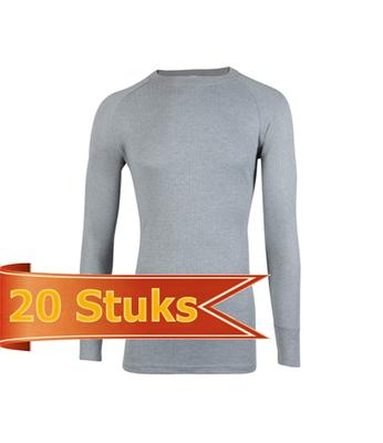 Unisex beeren ondergoed hemd lange mouw Thermo grijs (20 stuks)
