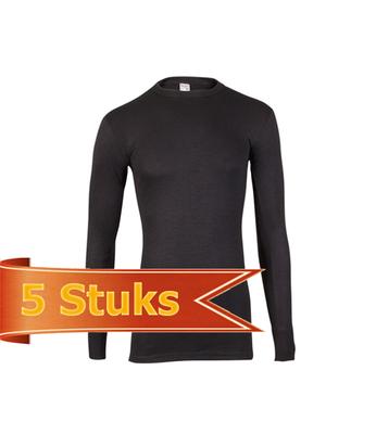 Beeren ondergoed Heren hemd thermo lange mouw Zwart (5 stuks)