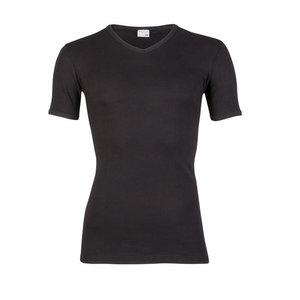 Heren beeren T-shirt korte mouw V-hals zwart