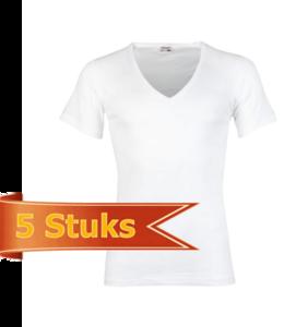 Heren beeren ondergoed T-shirt korte mouw diepe V-hals wit (5 stuks)