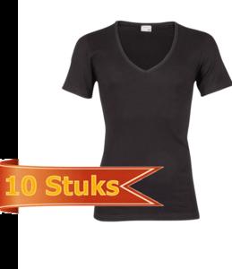Heren beeren ondergoed T-shirt korte mouw diepe V-hals zwart (10 stuks)