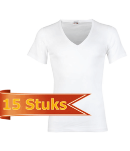 Heren beeren ondergoed T-shirt korte mouw diepe V-hals wit ( 15 stuks )