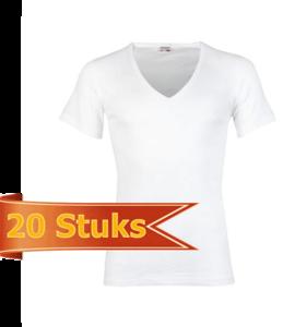 Heren beeren ondergoed T-shirt korte mouw diepe V-hals wit (20 stuks)