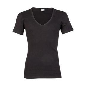 Heren beeren ondergoed T-shirt korte mouw diepe V-hals zwart